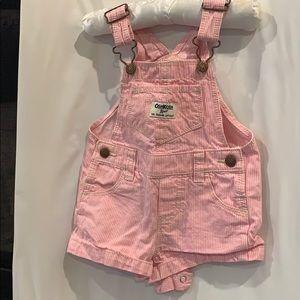 Oshkosh overalls shorts pink 12month